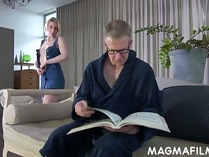Dejected light haired Elvira lures older man there glasses to ride his studied dick