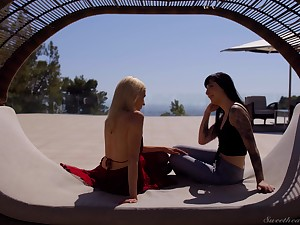 Romantic vacation and two cute babes enjoying some lesbian fuck