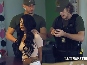 Illegal Latin infant Monica Asis is arrested and fucked by horny cop