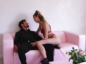 Attractive sprog Haley Watered down in snobbish heels riding a dick in the living room