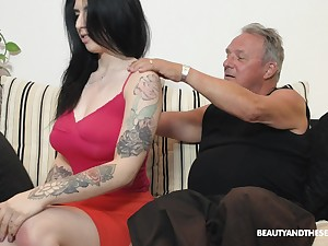 Busty virgin and sexy brunette babe Sheril Blosso rides older man on summit