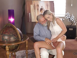 Old man wants to see Shanie Ryan's pussy and that sexy girl is hardly shy