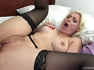 Sweet blonde wife close by stockings and lingerie having morning sex