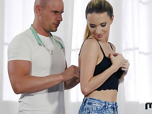 Cuckold is rewarded with BJ as A slutty Promoter Piaff is fucked by bald man
