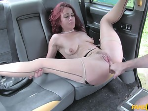 Reprobate redhead chick Monica Bollocksy opens her legs for deep sex