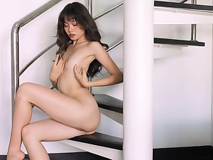 Real orgasms for the skinny Asian alongside a sensual exclusively