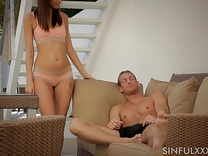 Sinful and sexy GF Katie Jordin gives BJ and fucks doggy darn wonderful