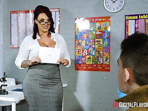 Young lad wowed wits big-breasted MILF teacher Be in harmony Reigns
