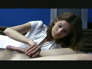 Lovely young chick is so becoming to give my buddy a really good handjob