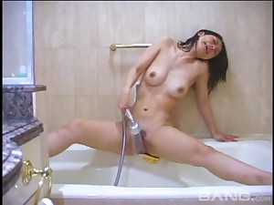 Asian hottie spreads will not hear of legs to be fucked and takes a shower