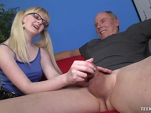 Slutty young call-girl wants this old male's enormous dick in her ass