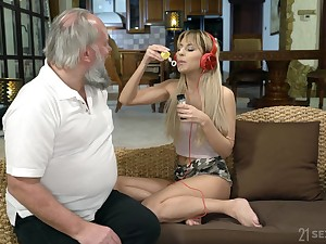 Lustful step granddaughter Sarah Cute gives a blowjob and gets will not hear of pussy nailed