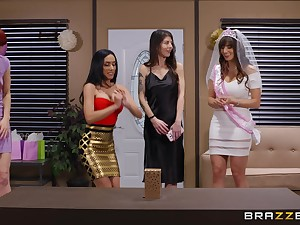 Hardcore fucking beyond the sofa with wife Lexi Luna and Tia Cyrus