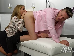 Horn-mad wife Sofi Goldfinger gives a rimjob with the addition of rides cock anally